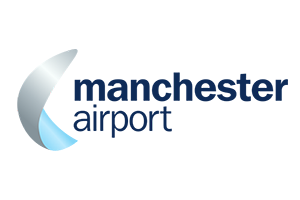 manchester airport logo in blues