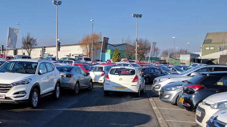 congested customer parking area at dealership